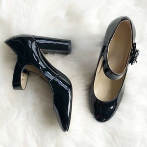 NWOT Marc Fisher patent Mary Jane heels 6M